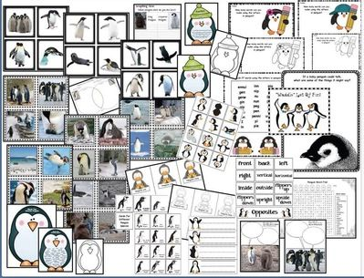 Penguin activities: LOTS of penguin activities PK-1st. Includes a variety of games, worksheets, centers that practice various standards, while learning factual information about penguins.
