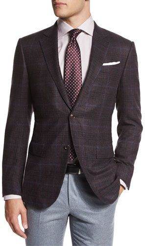Ermenegildo Zegna Trofeo Plaid Two-Button Jacket, Burgundy