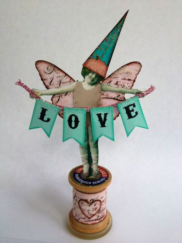 Fairy Bunting Banner Love Vtg Spool Button Mixed Media Altered Art Collage OOAK | eBay