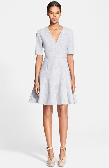 Free shipping and returns on Stella McCartney Stretch Wool Fit & Flare Dress at Nordstrom.com. A steep V-neckline echoes the precise tailoring and A-line flare of a dove-grey dress cut from lightweight stretch suiting wool.