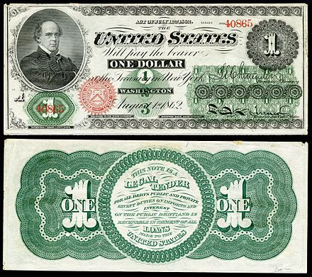 Salmon P. Chase, Secretary of The Treasury 1861-64  pictured on the first issue of $1 notes in 1862 as legal tender.  Rumor at the time was Chase put his picture on the note so people would know who he was.