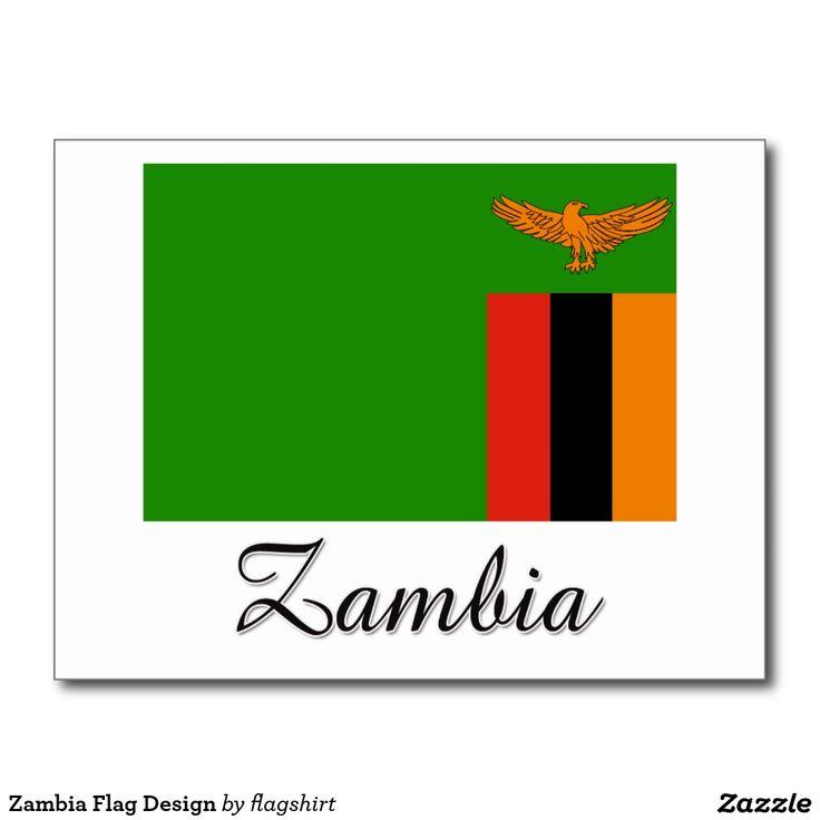 zambia flag design postcard