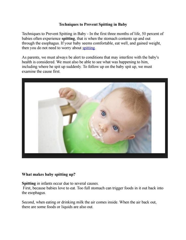 Techniques to prevent spitting in baby