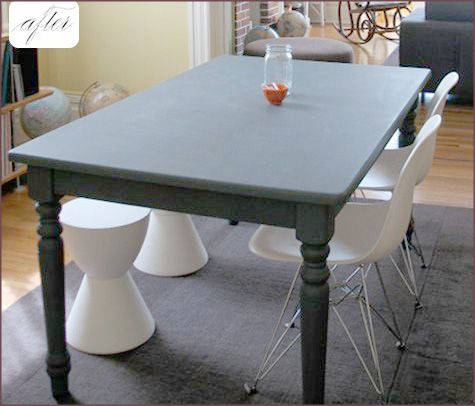 this is such a clever way to refurbish an old dining room table plus so much fun for kids and dinner guests no crayons and placemats required kate