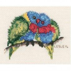 Lesley Suzanne Davies Small Rainbow Lorikeets Cross Stitch Kit