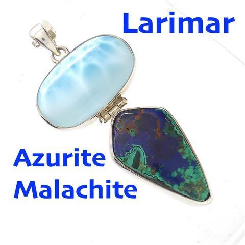 Pendant Larimar Azurite Malachite 925 Sterling Silver   Dominican Republic Caribbean   Leo Stone   Pectolite   Crystal Heart Melbourne Australia since 1986