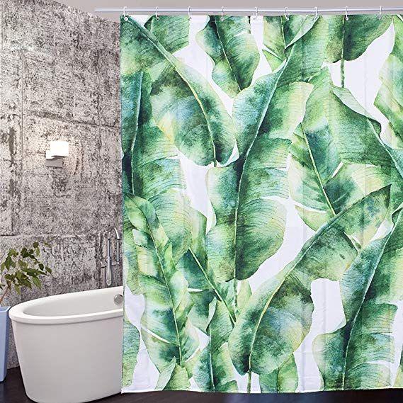 Arfbear Leaves Shower Curtain Liner Tropical Green Banana Leaves Cool Design Waterpro Shower Curtain Decor Bathroom Shower Curtains Banana Leaf Shower Curtain
