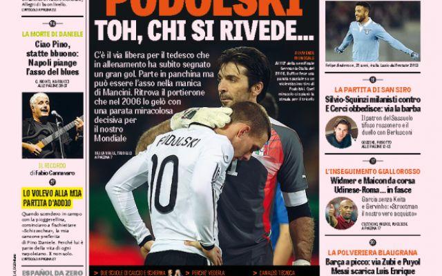 Gazzetta dello Sport | Podolski e Buffon, ci si rivede dopo il 2006. Lazio che vittoria! Il derby d'Italia è arrivato #juventus #inter #lazio #samp #seriea
