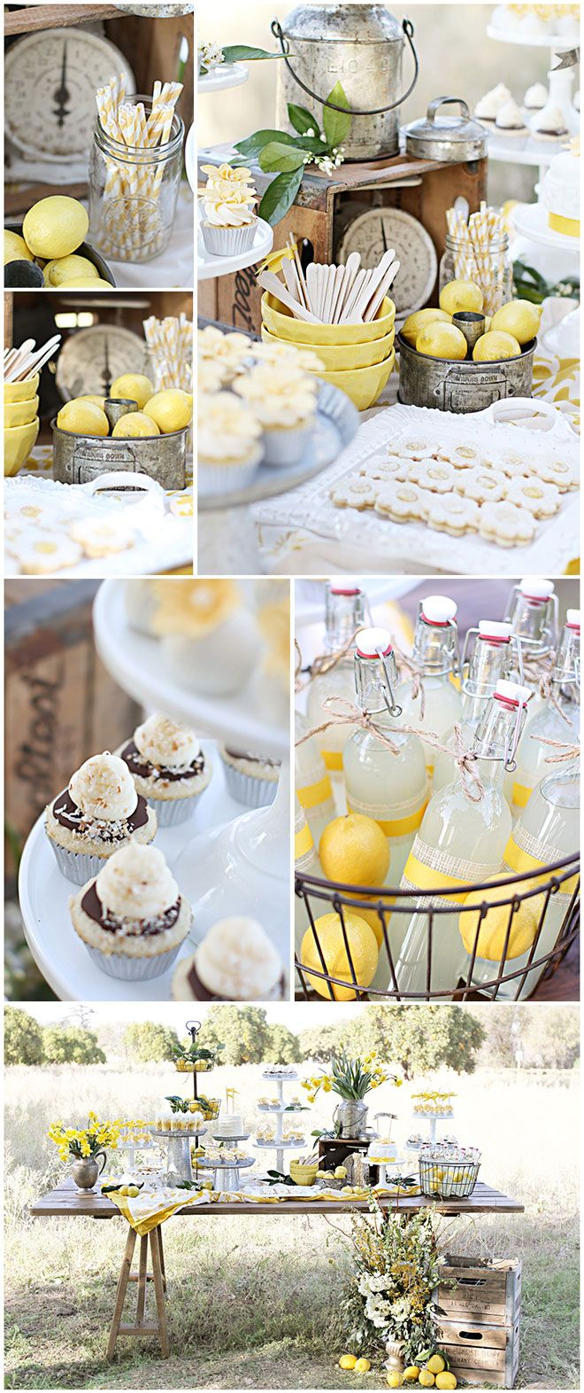Lemon Garden Party 1 ~  Old farmhouse style furniture, vintage tins, yellow glass and rustic accents.  Tin containers of all shapes and sizes  bouquets of daffodils or other seasonal yellow flowers
