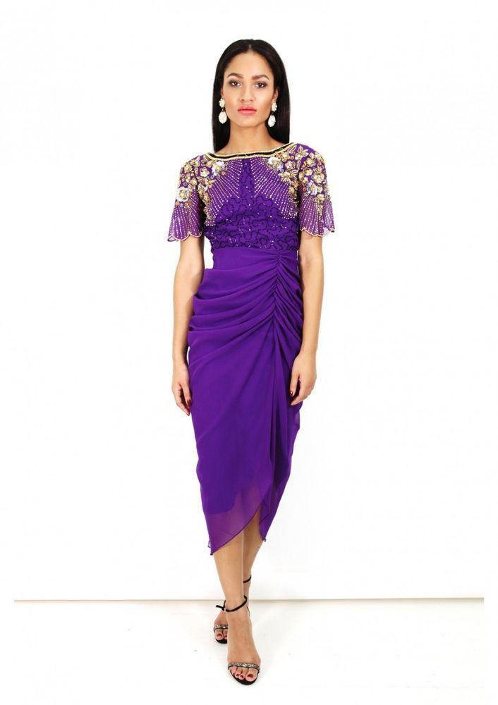 b839e119585 Virgos Lounge Purple Denise Embellished Wrap Midi Wedding Party Dress 6 -  16 New  VirgosLounge  BallgownPromDress  SpecialOccasion