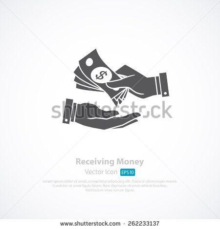 Receiving Money Icon. Vector Illustration - stock vector