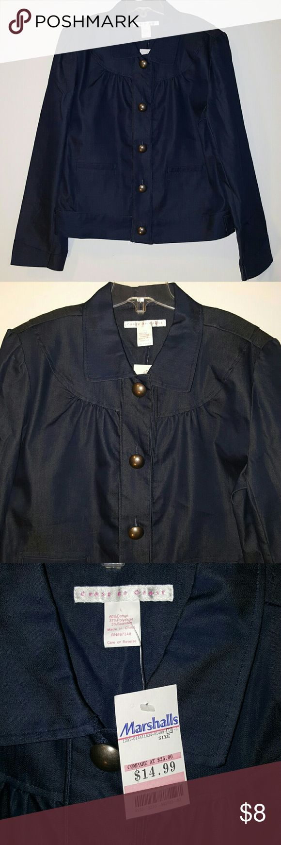 Super cute and girly blue cotton jacket Super cute and girly jacket with large silver antique colored buttons with two functional pockets in the front Coast to Coast Jackets & Coats Blazers