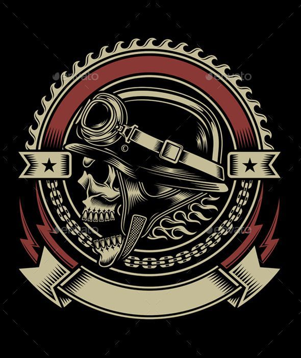 Vintage Biker Skull Emblem - Retro Technology: