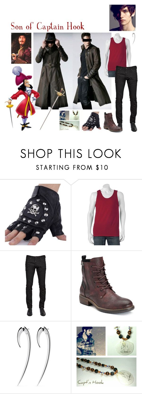"""""""Jason James Hook: Son of Captain James Hook (New Descendants OC)"""" by mjzahner ❤ liked on Polyvore featuring Dsquared2, Shaun Leane, men's fashion and menswear"""