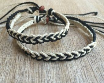 His and her Bracelet Black and Brown Couple Hemp by Fanfarria