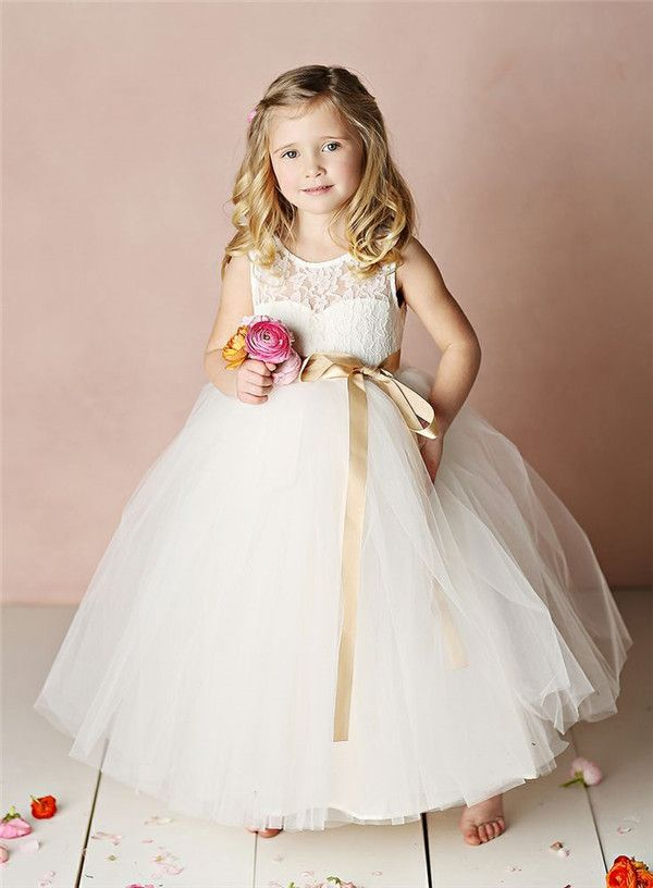 lace empire flower girl dress with gold ribbon