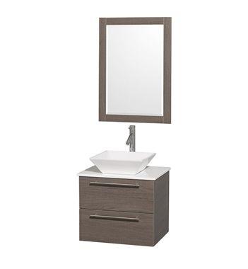"Amare 24"" Modern Wall-Mounted Bathroom Vanity Set by Wyndham Collection - Grey Oak"