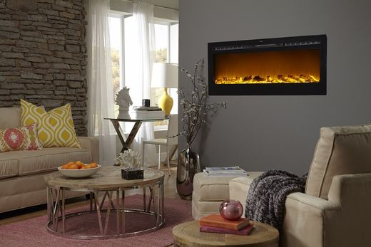 Sideline®50 Wall Recessed Electric Fireplace in Black