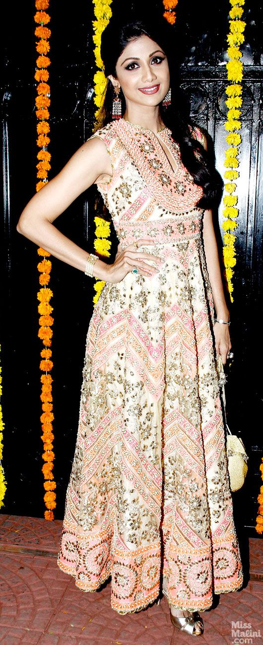 at Ekta Kapoor's 2013 Diwali Party Shilpa Shetty wears a beautiful sleeveless Anarkali in pastels by http://PreetiSKapoor.com/ Delhi
