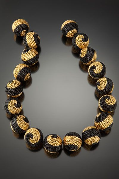 Beaded bead necklace by Barbara Packer - multi-drop peyote stitch.