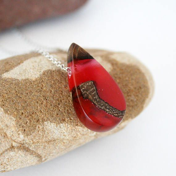 Red Teardrop Necklace Resin & Wood Pendant Resin Wood