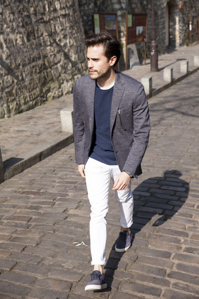 street style slack jacket et pantalon blanc homme