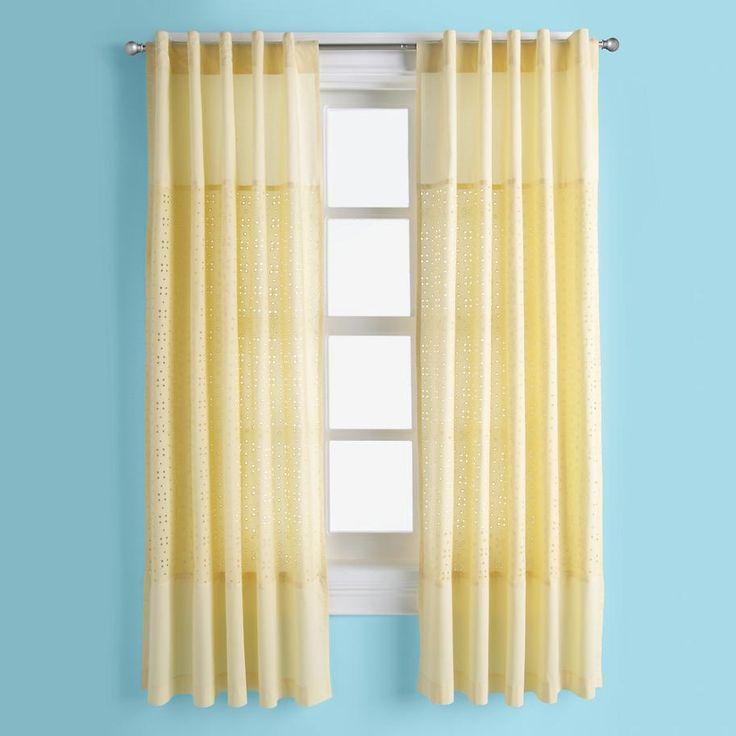Kids Curtains: Kids Yellow Eyelet Curtain Panels | The Land of Nod