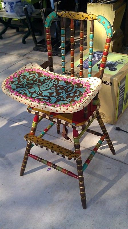 I like this - the chair is not busy, but tray sure is, I could do circles on the tray, but keep the chair more subtle.  One to consider