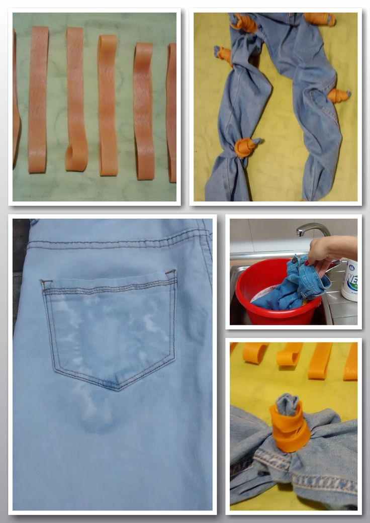 Pantalones vaqueros desteñidos con lejía utilizando gomas elásticas