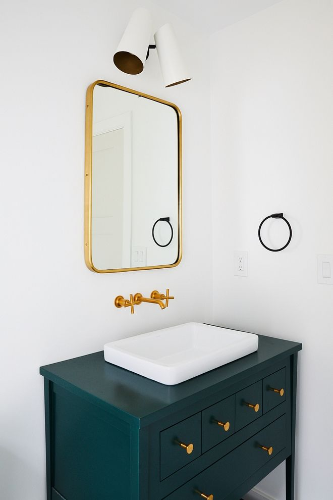 Hunter Green Bathroom Vanity With Gold Mirror And Wall Mounted Faucet Diy Bathroom Vanity