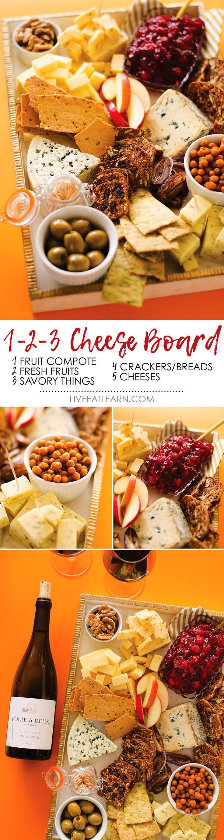 Your guide on how to make the ultimate vegetarian cheese board. From the crunchies to the savories and everything in between, it's really as easy as 1, 2, 3! Holiday entertaining and appetizers have never been easier or more flavor-packed! // Live Eat Lea