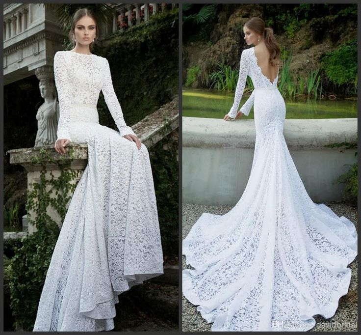 2014 Most Gorgeous Lace White Or Ivory Wedding Dresses Bateau Long Sleeve Mermaid Cutout Back Sexy Bridal Gowns With Sash Free Veil Vintage