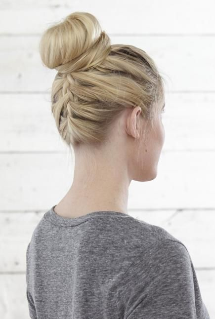 Embellish your topknots with a little French braid up the back. Tip: Braid while hanging off the side of your bed so the rest of your hair stays out of the way. #FrenchBraids #Hairstyles