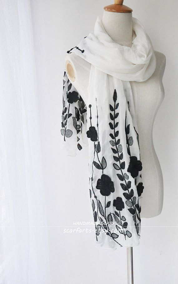White Silk Shawl Scarf With Black Embroidery On Both by scarfarts