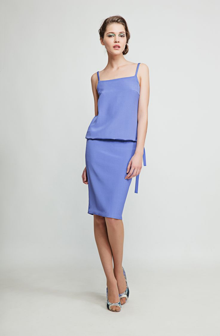 This elegant lavender pencil silk dress has shoulder straps, dropped waist and an open back and is perfect for those mellow summer evenings. www.marimofashion.com