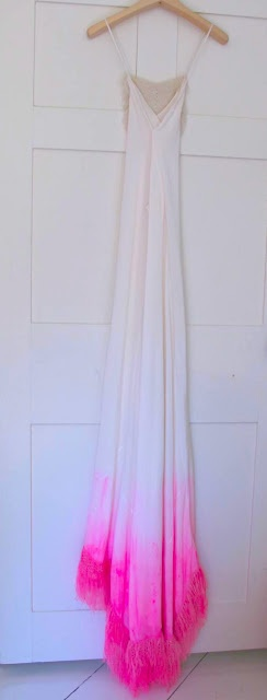 neon pink dip dye wedding dress| silk & hand crochet cashmere| custom made by Ryan Roche