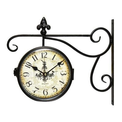 Adeco Trading Vintage-Inspired Round Chandelier Double-Sided Wall Hanging Clock