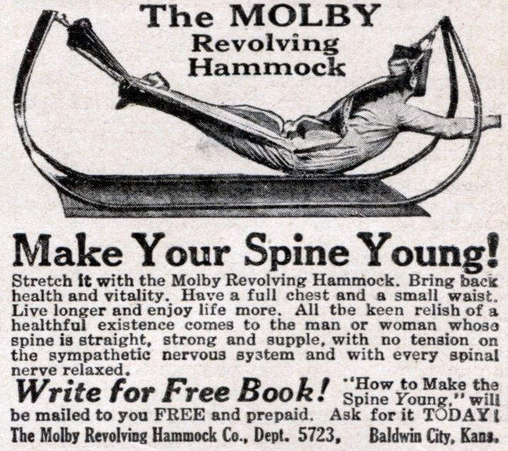 The Molby Revolving Hammock – By the time the roaring 1920's emerged, corsets were on their way out. However, inventors and scientists found new and exciting ways to combine painful bondage into passive fitness methods.