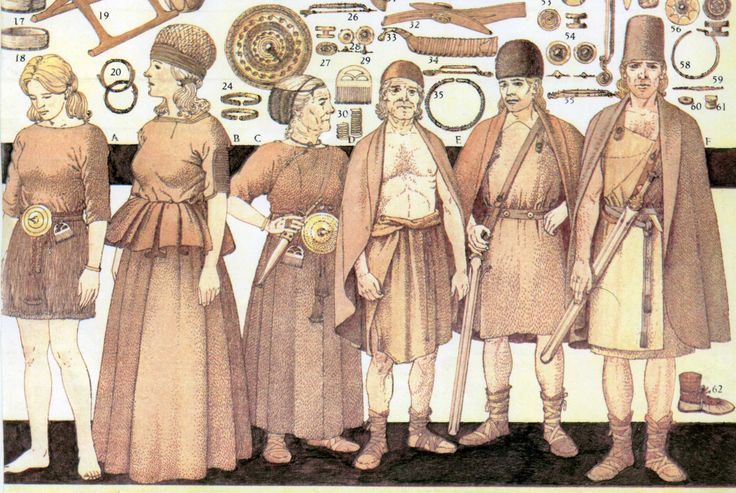 Danish Bronze Age costumes from different graves