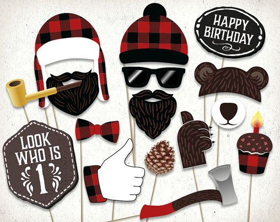 Lumberjack first birthday photo booth props. Lumberjack party printables / supplies
