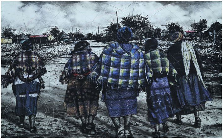 An original work by Phillemon Hlungwani entitled: Ndlela hi Komba hi lava va nga rhanga va yi famba. I (The old people can show us where to go because they have experienced it before I), mixed media on paper 151 x 225cm. For more please visit www.finearts.co.za