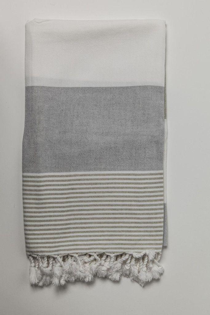 Ottoloom Ibiza Turkish Hamam towel in Olive Grey