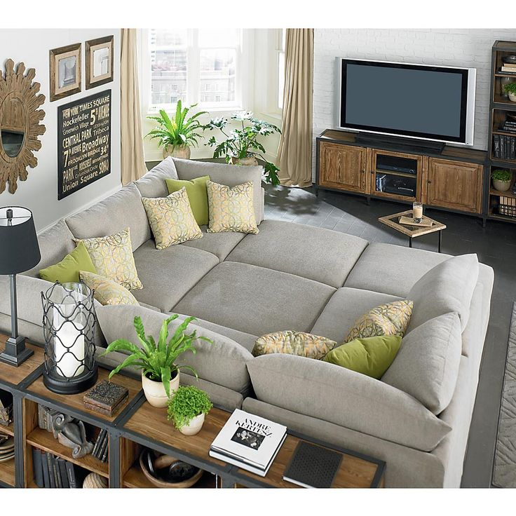 Custom Upholstered Pit Shaped Sectional Oh my! all the ways to get comfy on this!
