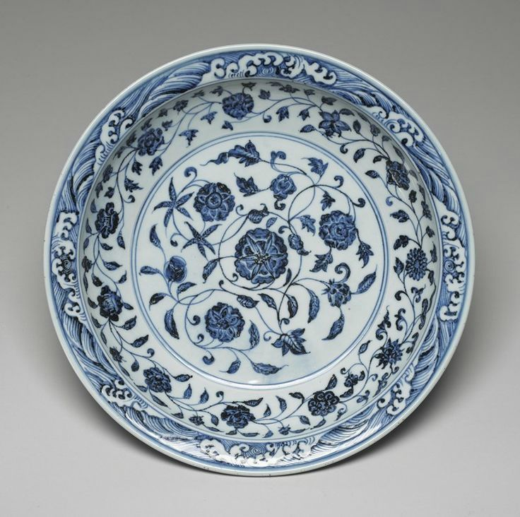Imperial Deep Dish, Ming dynasty, Yongle period, 1403-1425. Porcelain with cobalt blue decoration under a clear glaze; 2 7/8 x 16 1/4 x 16 1/4 in. (7.3 x 41.28 x 41.28 cm).Minneapolis Institute of Arts