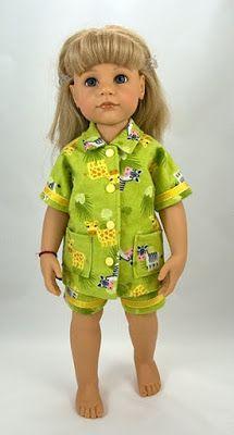 Pyjama Patroon voor Gotz/Goetz Sarah en Hannah Poppen, 50cm