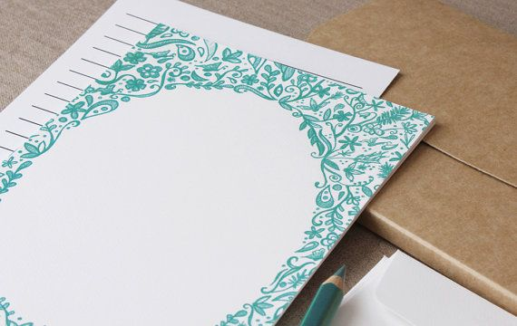 Botanical Green Writing Set - 10 Pack - Whimsical Hand Illustrated Ink Sketch Correspondence