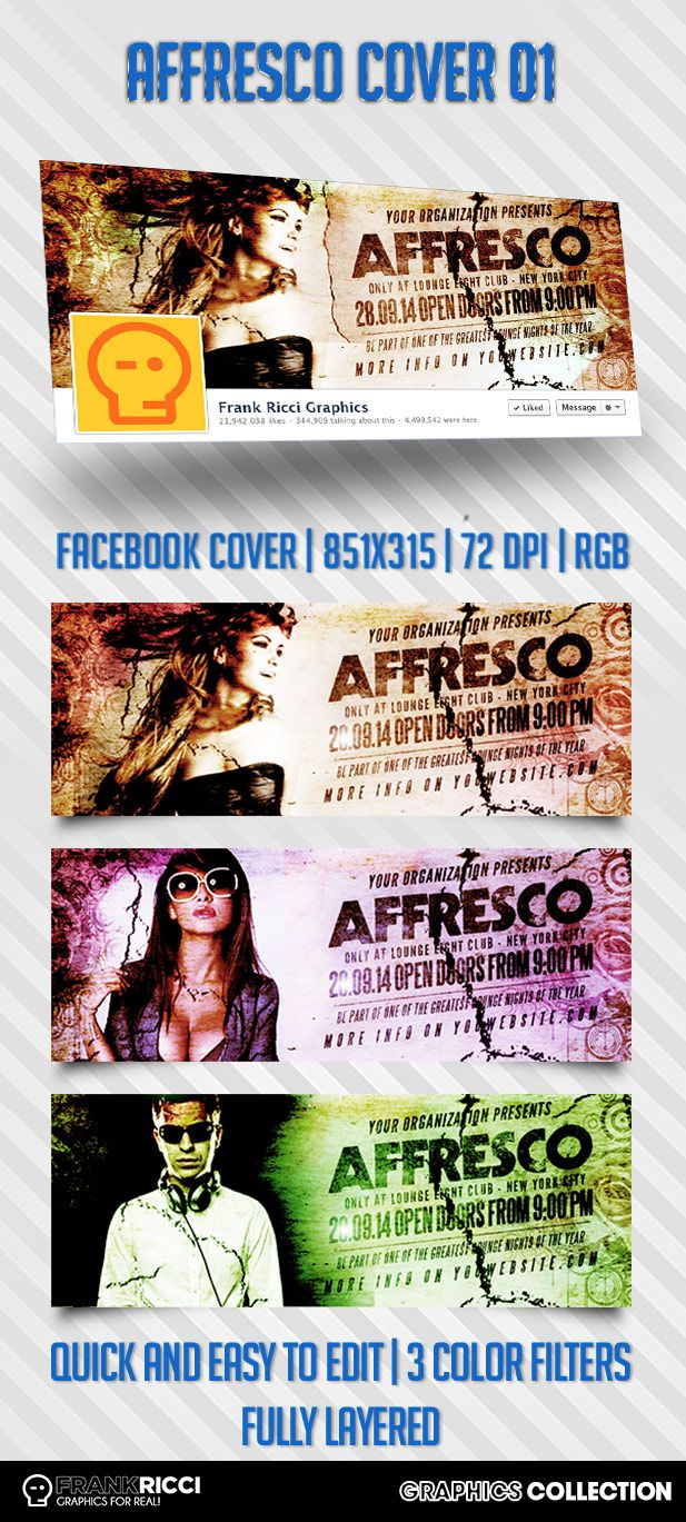 Cover Facebook Affresco Template - Available on http://frankricci.it/affresco-cover-facebook-01/