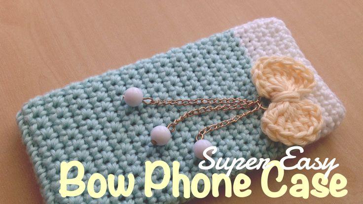 ถักเคสโทรศัพท์ติดโบว์แหวว ๆ  (English Subtiltles/Super Easy Crochet Bow ...