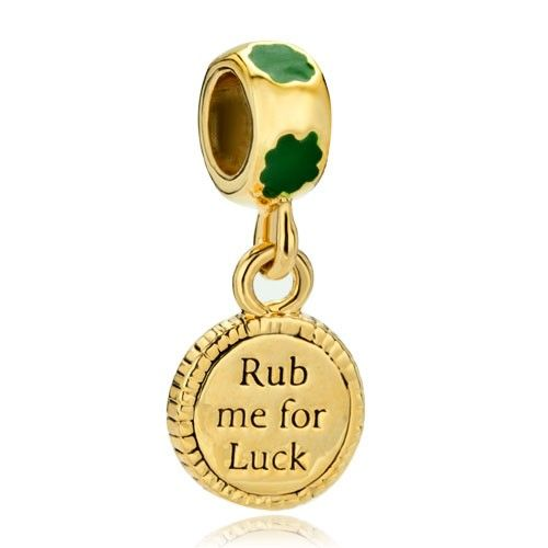 Mothers Day Gifts 22K Gold Clover Rub Me For Luck St Patrick Bead Charm Dangle Pandora Chamilia Compatible | Charmsstory.com #charms #pandora #luckycharms #rubmeforluck #dangle