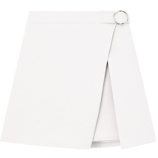 Ring Buckle Faux Wrap Mini Skirt (327.770 IDR) ❤ liked on Polyvore featuring skirts, mini skirts, print mini skirt, mini skirt, mid thigh skirts, patterned skirts and white mini skirt